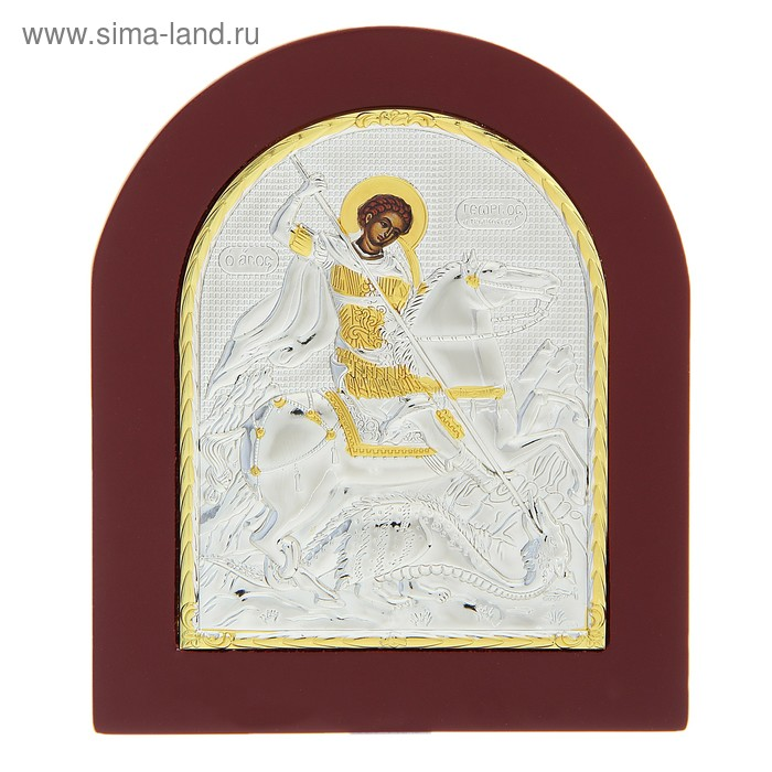 "Икона ""Георгий Победоносец"" на дереве, на подставке"