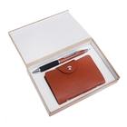 Набор подарочный 2в1 в дерев.коробке (ручка+визитница на 12 визиток) коричневый микс 16*11см