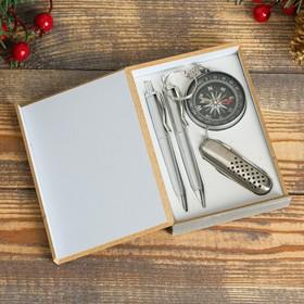 Набор подарочный 4в1 в деревянной коробке: 2 ручки, брелок-компас, нож 3в1, черный