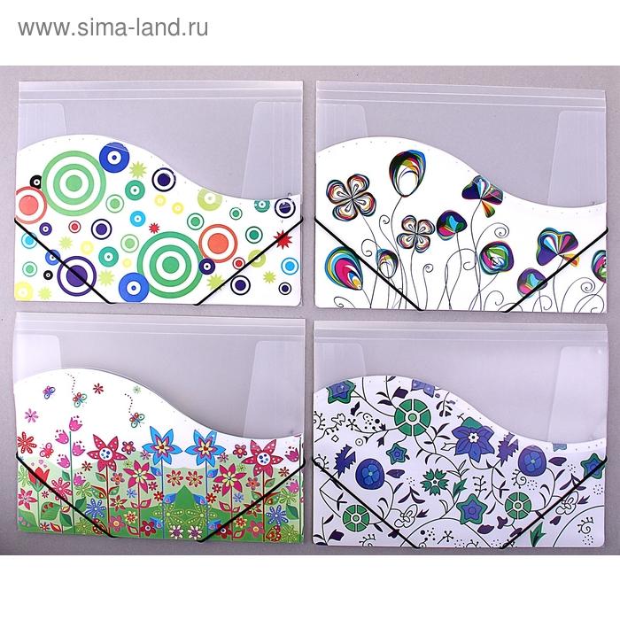 Папка на резинке формат А4 400мкр Рисунок МИКС