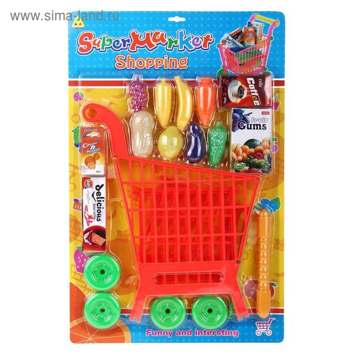"""Игровой набор """"Тележка с продуктами"""" разборная, цвет оранжевый, высота: 45 см"""