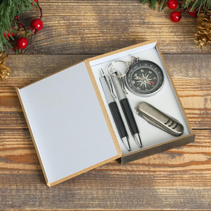 Набор подарочный 4в1: 2 ручки, компас, нож 3в1, черный