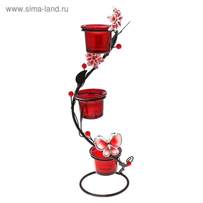 """Подсвечник металлический, спираль на три свечи с декором """"Цветок"""", цвет красный"""