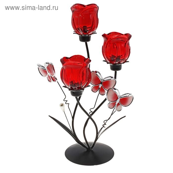 """Подсвечник на 3 свечи """"Свободный полет"""", цвет красный"""