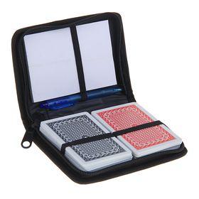 Набор 3 в 1: игральные пластиковые карты, 2 колоды по 54 шт., 28 мкм, 8,8 × 5,7 см, блокнот, ручка в складном чехле