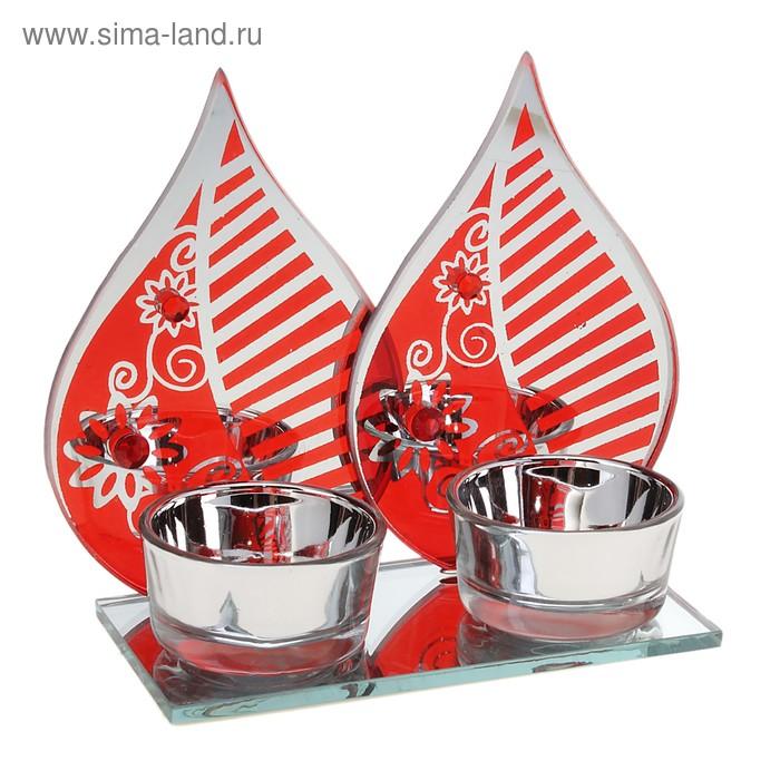 """Подсвечник на 2 свечи """"Листик с узором"""", цвет красный"""