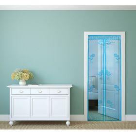 Сетка антимоскитная 'Розы' 80x210 см на магнитной ленте, цвет голубой Ош