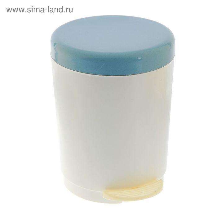 """Ведро для мусора с педалью 6 л """"Мраморное"""", цвет серо-голубой"""