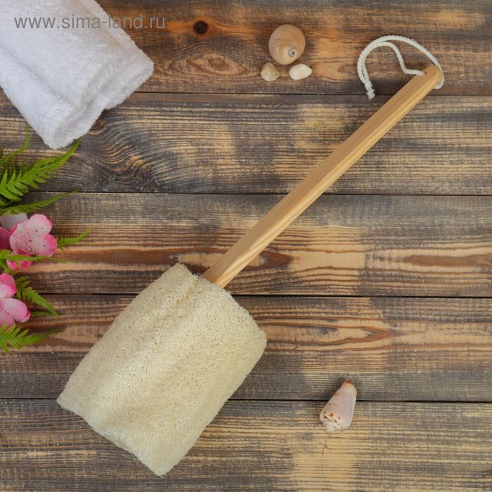 Мочалка с деревянной ручкой из люфы
