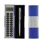 Калькулятор-футляр с ручкой 8-разрядный корпус темно-синий-серый, УЦЕНКА