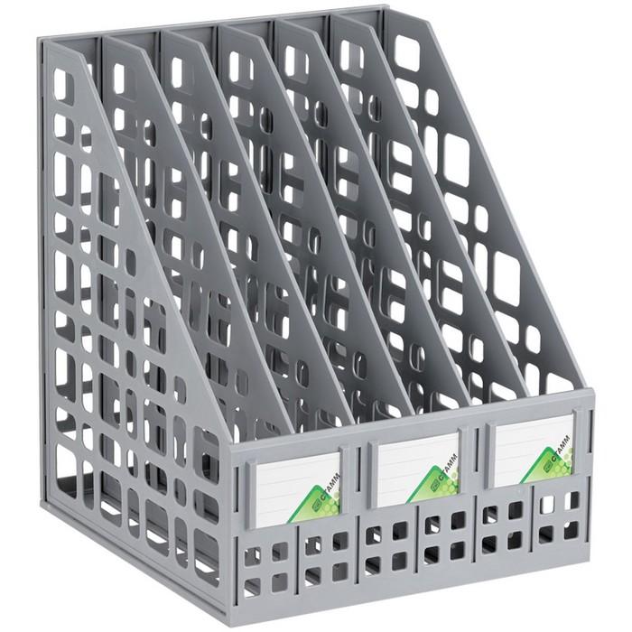 Лоток для бумаг cборный вертикальный 6 отделений, серый