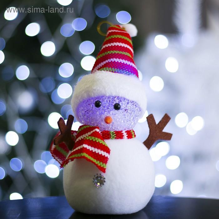 """Игрушка световая """"Снеговик в полосатой шапочке"""", 16х23 см, батарейки в комплекте"""