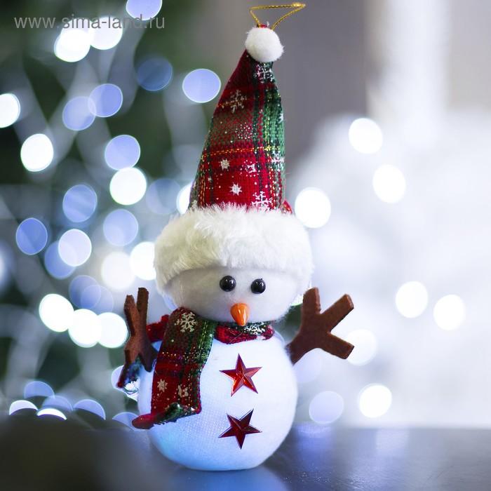 "Игрушка световая ""Снеговик со звездами"", 18х27 см, батарейки в комплекте"