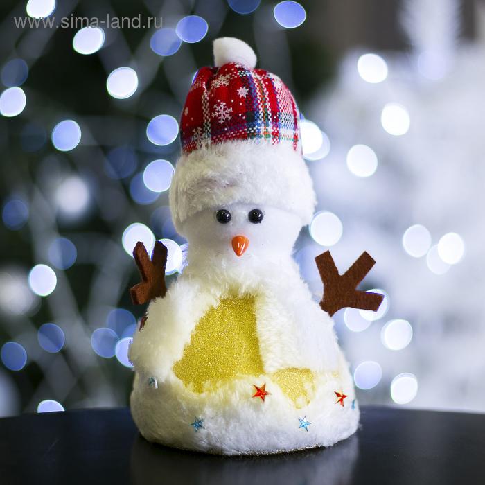 """Игрушка световая """"Праздничный снеговик"""", 12х20 см"""