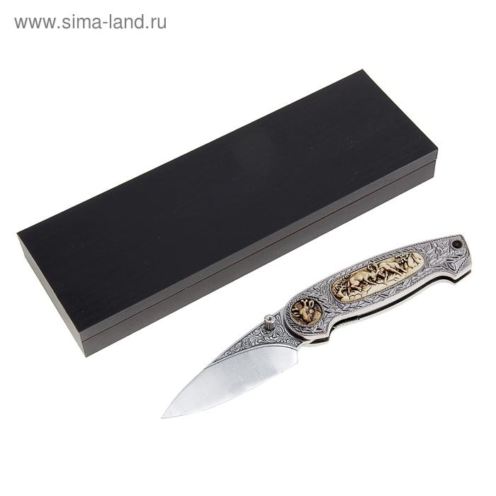 """Нож складной сувенирный """"Олени"""" в деревянной коробке"""