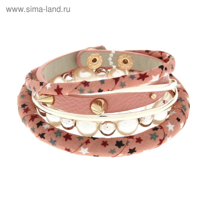 """Браслет-кольца 6 колец """"Нежность с шипами"""", цвет розово-белый"""