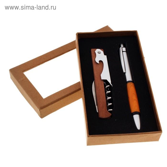Набор подарочный 2в1: ручка, открывалка-нож-штопор, коричневый