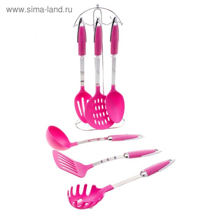 """Набор кухонных принадлежностей """"Малинка"""", 6 предметов на подставке"""