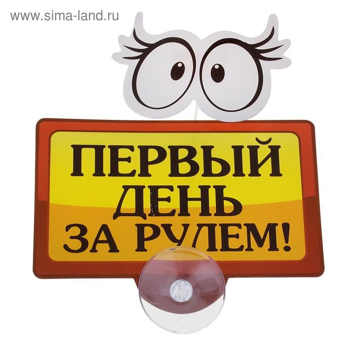 """Табличка на присоске """"Первый день за рулем"""""""