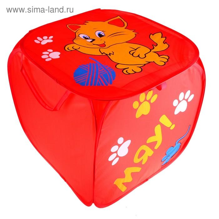 """Корзина для игрушек """"Котята"""" с ручками и крышкой, цвет красный"""