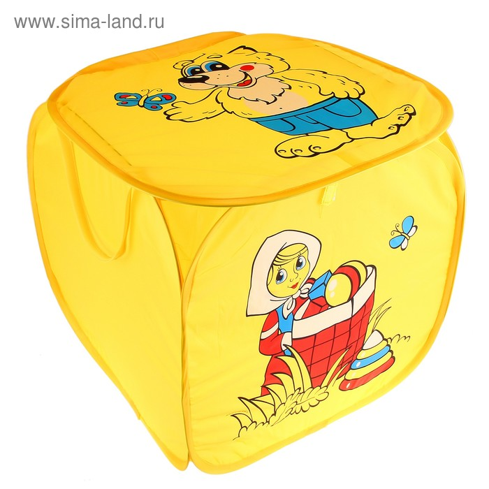 """Корзина для игрушек """"Маша и медведь"""" с ручками и крышкой, цвет желтый"""