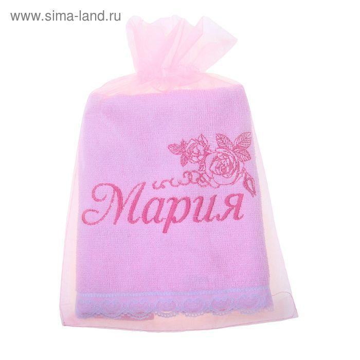 Полотенце с вышивкой 100% хлопок Мария 32*70 см 370гр/м2