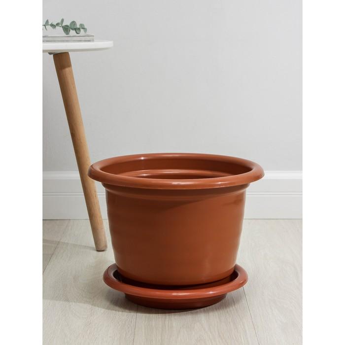 """Горшок для цветов 10 л """"Виола"""", поддон, цвет коричневый"""