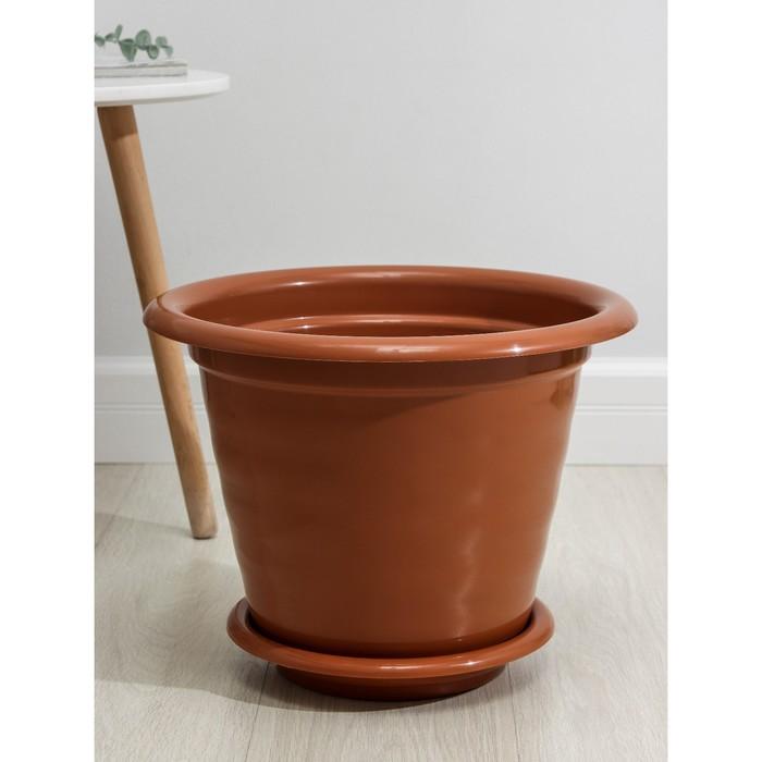 """Горшок для цветов """"Виола"""" 16 л, поддон, цвет коричневый"""