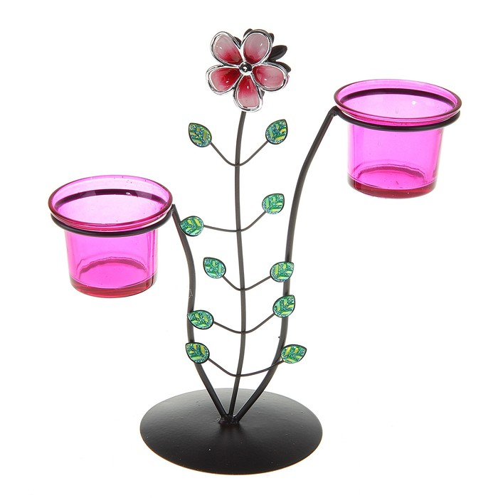 "Подсвечник на 2 свечи ""Цветок"", цвет розовый"