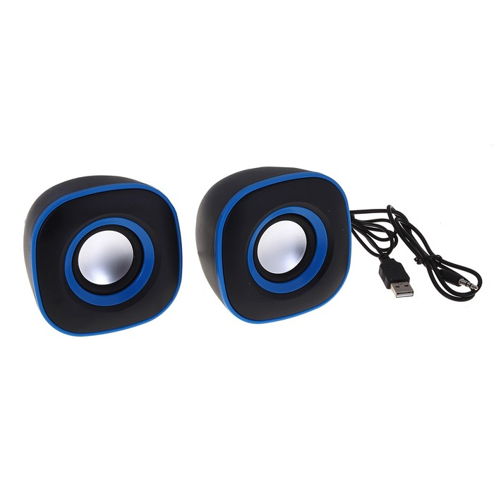 Портативные колонки USB для ПК/разъем 3,5, 023, черные с синим
