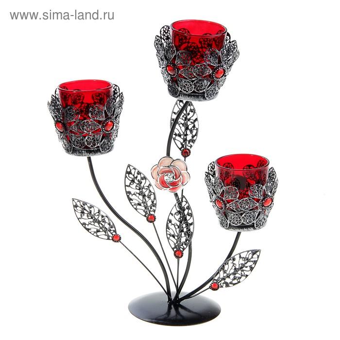 """Подсвечник на 3 свечи """"Цветок ажурный"""", цвет красный"""
