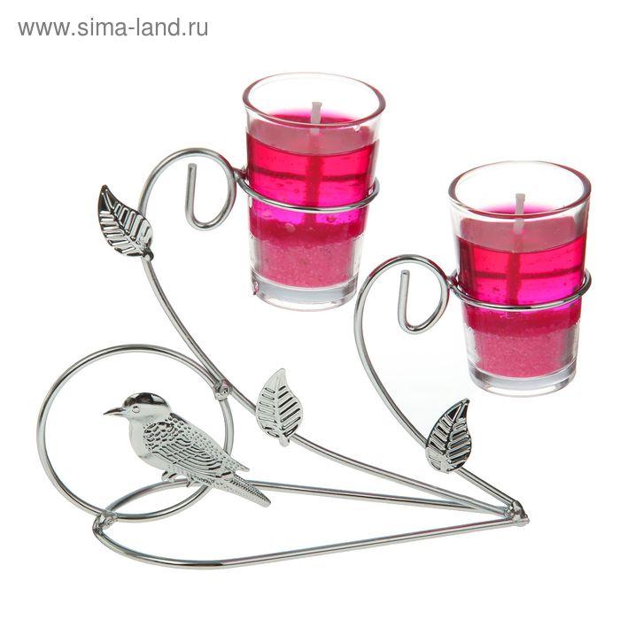 """Подсвечник с гелевыми свечами """"Птичка"""", цвет розовый"""