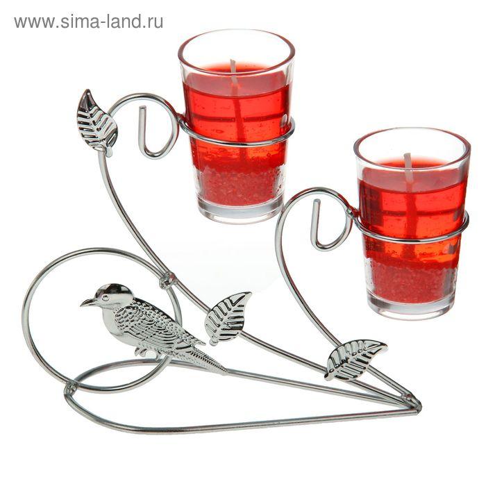 """Подсвечник с гелевыми свечами """"Птичка"""", цвет красный"""