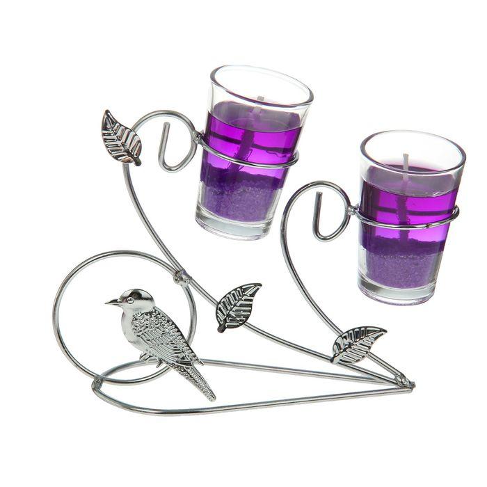 """Подсвечник с гелевыми свечами """"Птичка"""", цвет фиолетовый"""