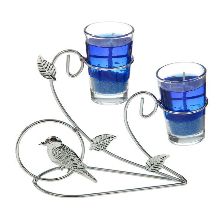 """Подсвечник с гелевыми свечами """"Птичка"""", цвет синий"""
