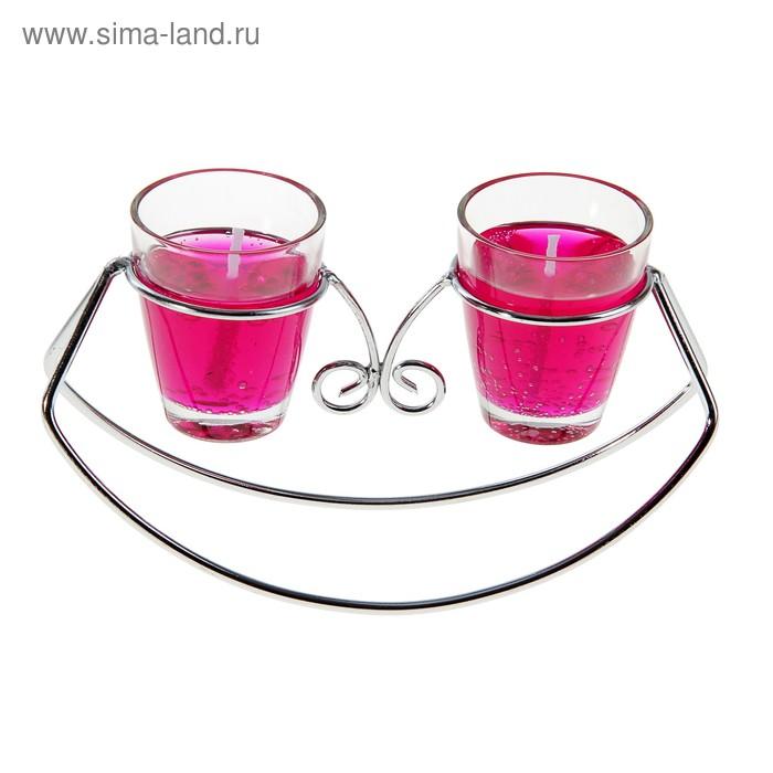 """Подсвечник с гелевыми свечами """"Лодочка"""", цвет розовый"""