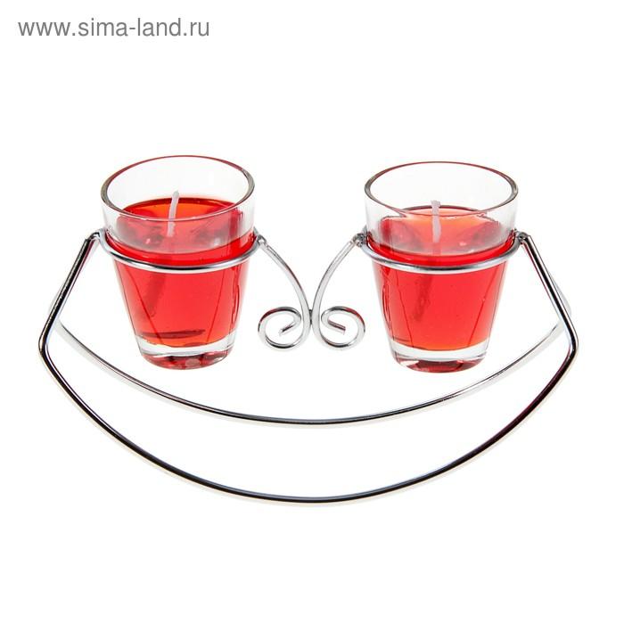 """Подсвечник с гелевыми свечами """"Лодочка"""", цвет красный"""