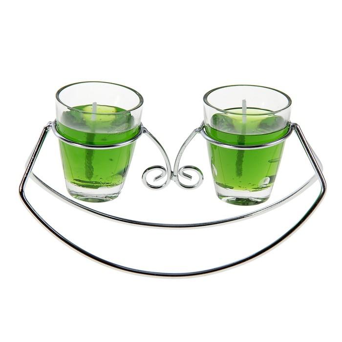"""Подсвечник с гелевыми свечами """"Лодочка"""", цвет зеленый"""