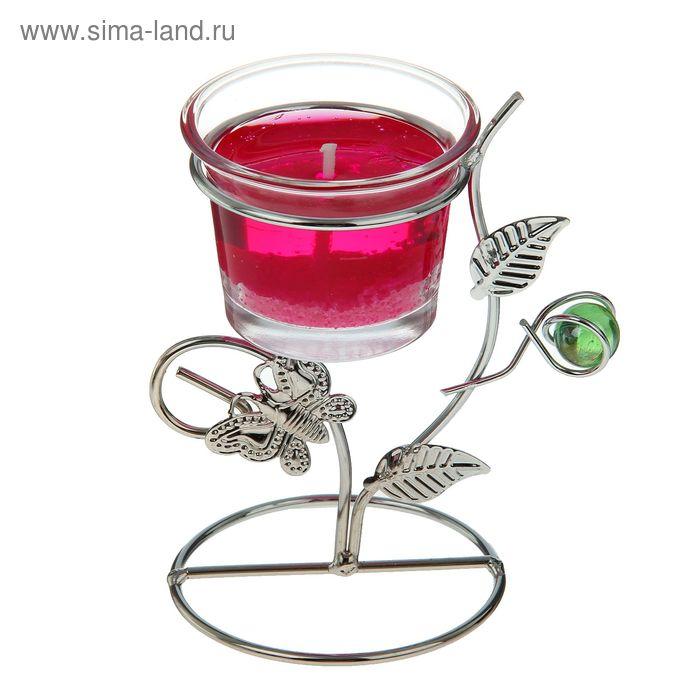 """Подсвечник с гелевой свечой """"Бабочка"""", цвет малиновый"""