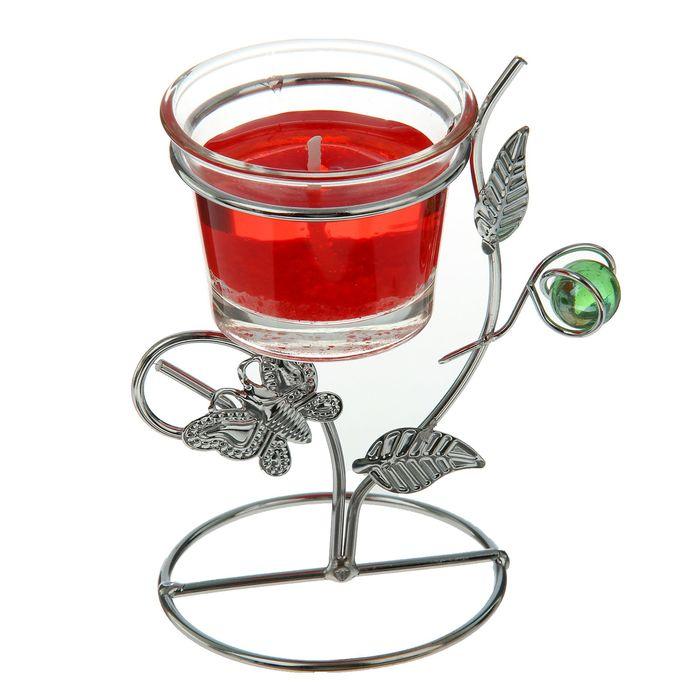 """Подсвечник с гелевой свечой """"Бабочка"""", цвет красный"""