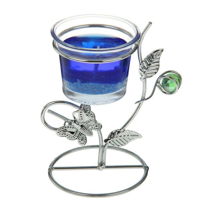 """Подсвечник с гелевой свечой """"Бабочка"""", синий"""