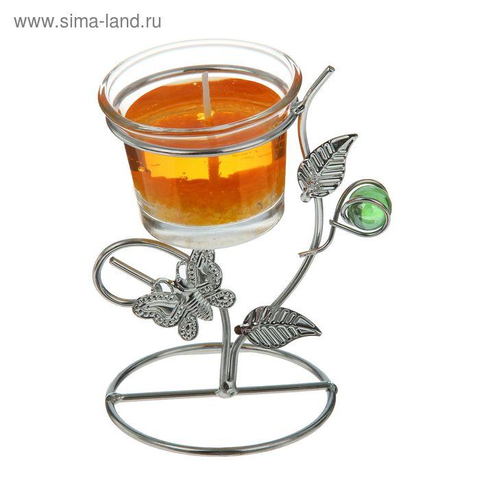 """Подсвечник с гелевой свечой """"Бабочка"""", цвет оранжевый"""