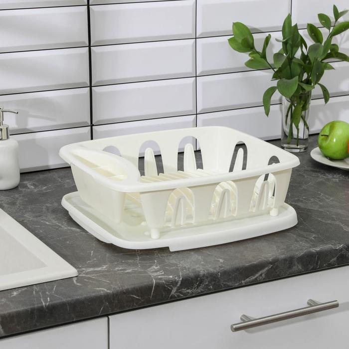 """Сушилка для посуды """"Люкс"""", с поддоном, цвет мраморный"""