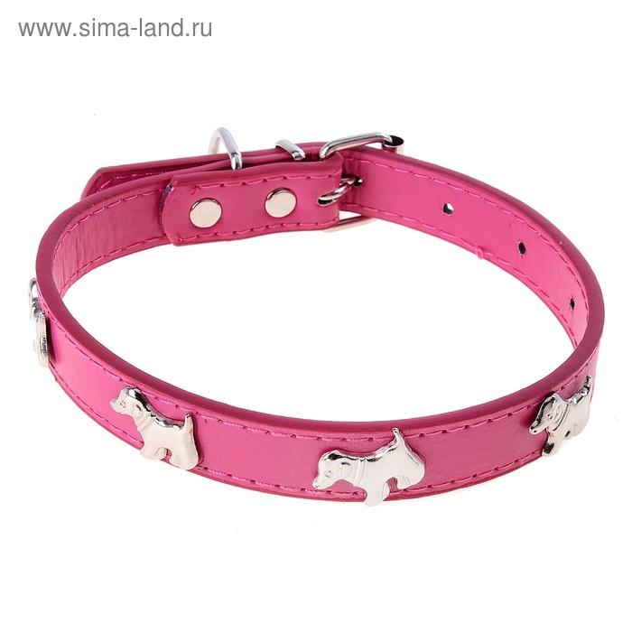 "Ошейник ""КАЛИПСО"" декор собачка розовый 2,0х46 см"
