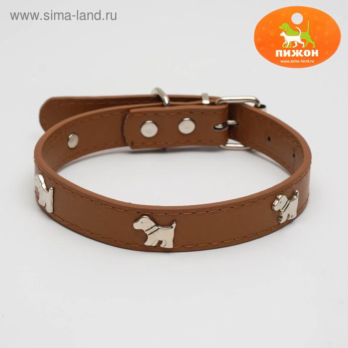 """Ошейник """"КАЛИПСО"""" декор собачка коричневый 2,0х46 см"""