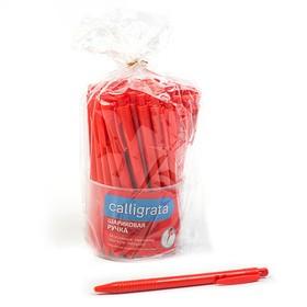 Ручка шариковая автоматическая Лого Аскет корпус красный, стержень синий