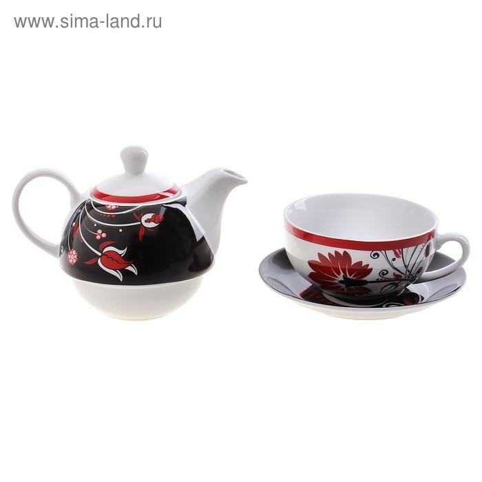 "Набор чайный ""Хохлома"", 3 предмета: кружка 290 мл, блюдце, чайник 420 мл"