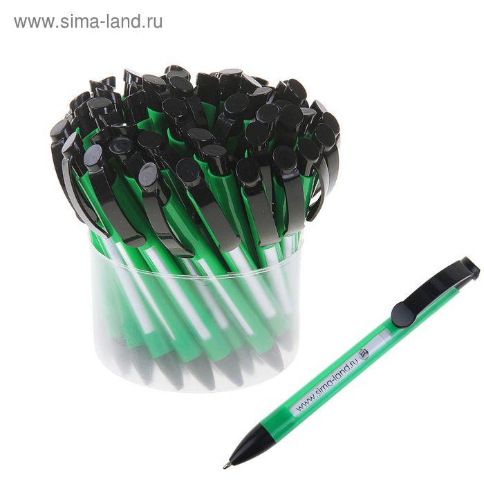 Ручка шариковая автоматическая Лого Окно корпус зеленый с черной вставкой, стержень синий