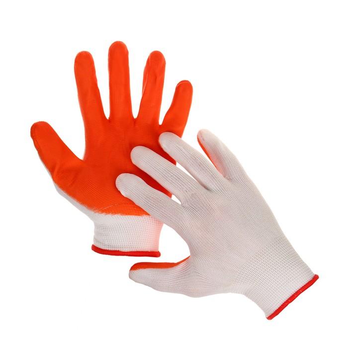 Перчатки нейлоновые с нитриловым покрытием облегченные (полуоблив) оранжевые