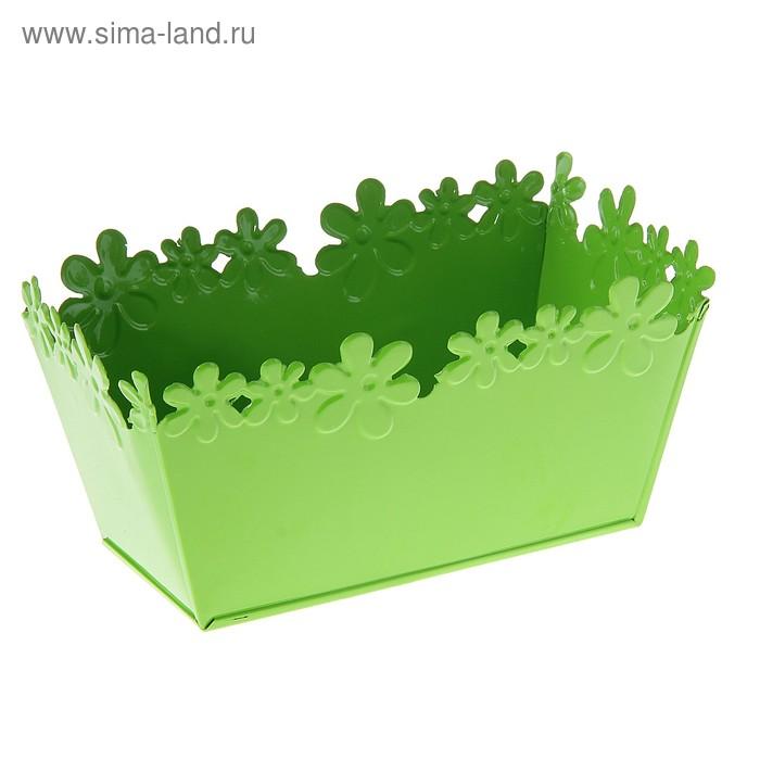 """Кашпо оцинкованное """"Цветочный край"""" среднее, ванночка, зелёное"""